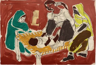 Charpai by Shanti Dave, Impressionism Serigraph, Serigraph on Paper, Brown color