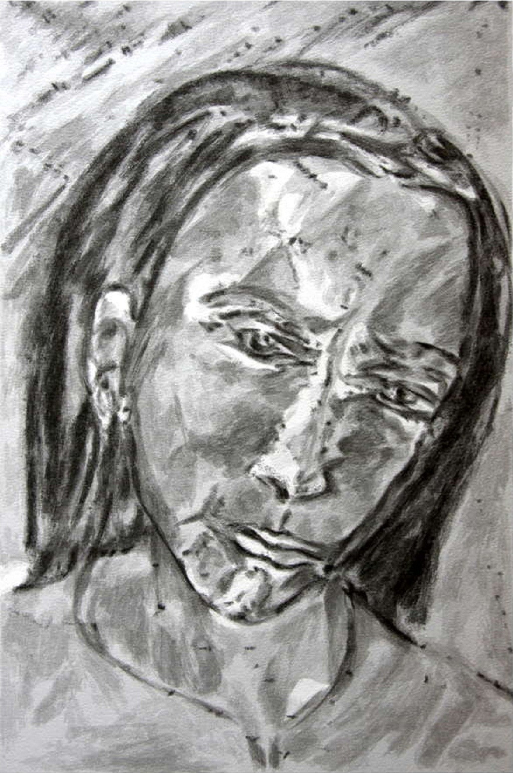 Head by Akbar Padamsee, Impressionism Serigraph, Serigraph on Paper, Gray color