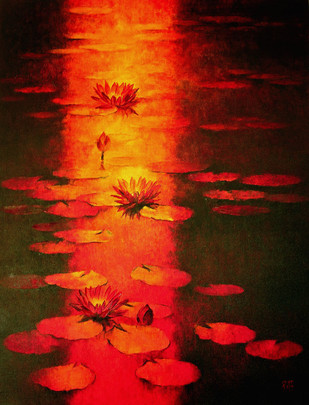 Water Lilies 60 by Swati Kale, Impressionism Painting, Oil on Canvas, Brown color
