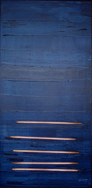 Solid Lines by Venkat Yerramshetty , Abstract Painting, Acrylic on Canvas, Blue color