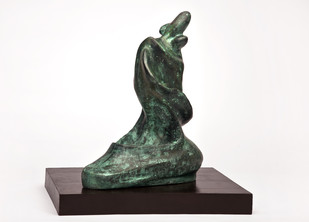 Mother and Child by Manjari Goenka, Art Deco Sculpture | 3D, Bronze, White color