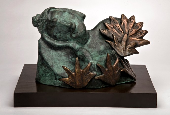 Buddha Divine by Manjari Goenka, Art Deco Sculpture   3D, Bronze, Gray color