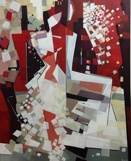 Trust by Ella Prakash, Cubism Painting, Acrylic on Canvas, Brown color