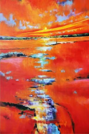 Sun Over Marshes Digital Print by Nidhi Rajput Bhatia,Impressionism