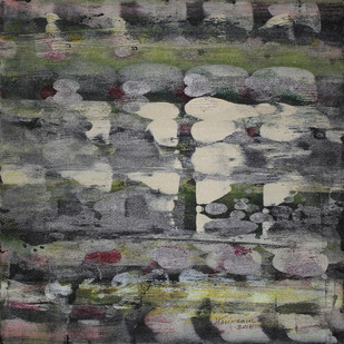 Stellar Memories 22 by V .Hariraam , Abstract Painting, Acrylic on Canvas, Gray color