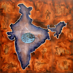 Where's The Chaos 1 by Rahul Mukherjee , Pop Art Painting, Acrylic on Canvas, Brown color