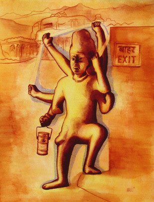 Comedy of Errors by Rahul Mukherjee , Impressionism Painting, Watercolor on Paper, Brown color