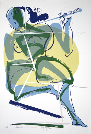 Radha Krishna by Jatin Das, Impressionism Serigraph, Serigraph on Paper, Gray color