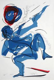 Krishna by Jatin Das, Impressionism Serigraph, Serigraph on Paper, Gray color