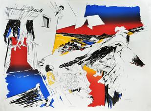 Serried Sky by Nabibaksh Mansoori, Impressionism Serigraph, Serigraph on Paper, Gray color