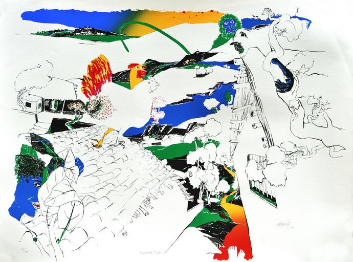 Morning Masti by Nabibaksh Mansoori, Impressionism Serigraph, Serigraph on Paper, Gray color