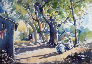 Sunday Sun Light by Sunil Linus De, Impressionism Painting, Watercolor on Paper, Gray color