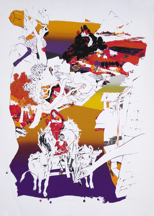 An Excellent Evening by Nabibaksh Mansoori, Impressionism Serigraph, Serigraph on Paper, Gray color