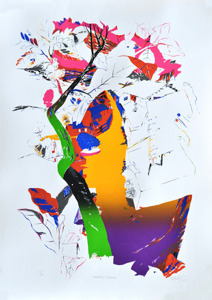 Speaking Sparrows by Nabibaksh Mansoori, Expressionism Serigraph, Serigraph on Paper, Cyan color