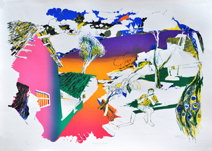Morning Raga by Nabibaksh Mansoori, Expressionism Serigraph, Serigraph on Paper, Gray color