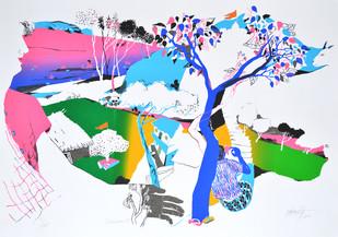 Devotion II by Nabibaksh Mansoori, Expressionism Serigraph, Serigraph on Paper, Cyan color