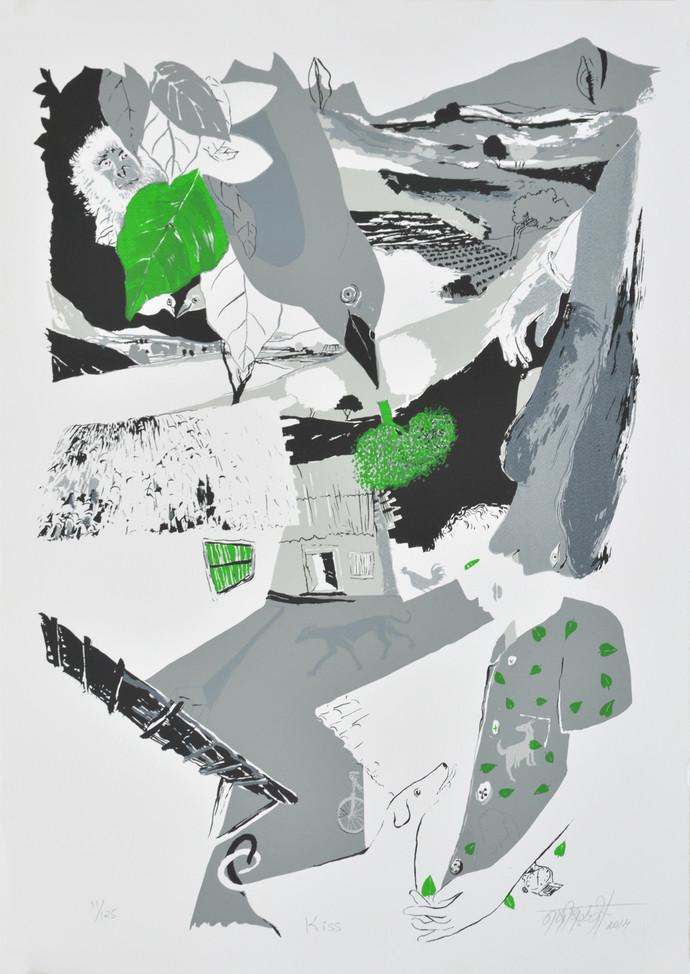 Kiss by Nabibaksh Mansoori, Expressionism Serigraph, Serigraph on Paper, Gray color