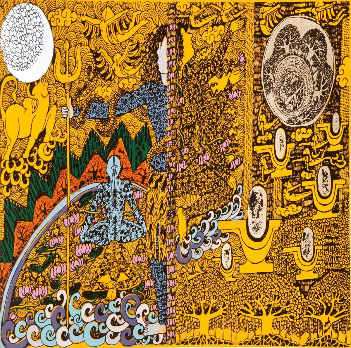 Yogini 3 by Seema Kohli, Traditional Serigraph, Serigraph on Paper, Brown color