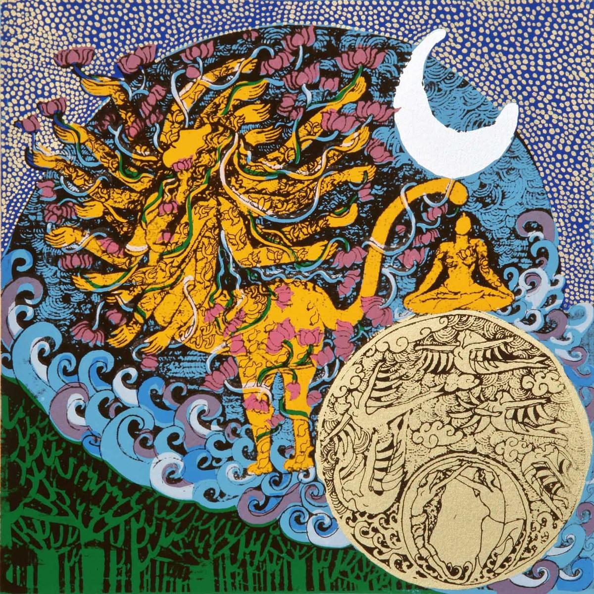 Yogini 1 by Seema Kohli, Traditional Serigraph, Serigraph on Paper, Brown color