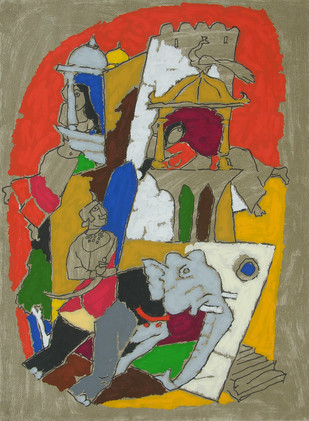 Princely-Jaisalmer by M F Husain, Expressionism Serigraph, Serigraph on Paper, Brown color
