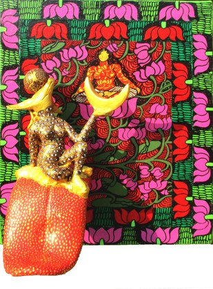 Yogini 6 by Seema Kohli, Traditional Painting, Mixed Media, Brown color