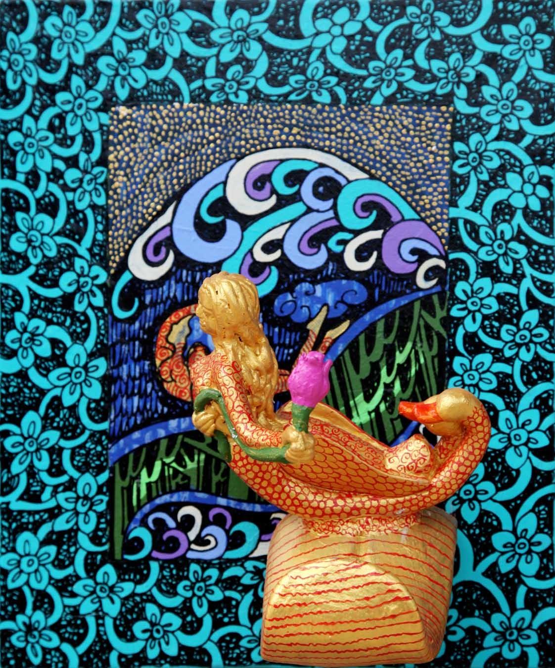 Yogini 8 by Seema Kohli, Traditional Painting, Mixed Media, Cyan color