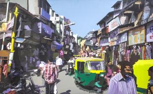 Ahemdabad Bazaar by raj kumar sharma, Impressionism Painting, Acrylic on Canvas, Gray color
