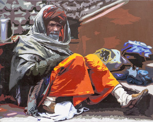 Prateiksha by raj kumar sharma, Impressionism Painting, Acrylic on Canvas, Brown color