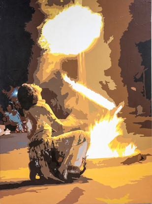 Baazigar by raj kumar sharma, Impressionism Painting, Acrylic on Canvas, Brown color
