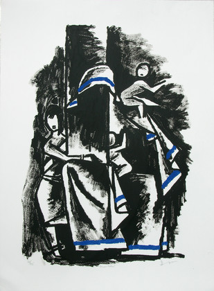 Eternal Mother II by M F Husain, Impressionism Serigraph, Serigraph on Paper, Gray color