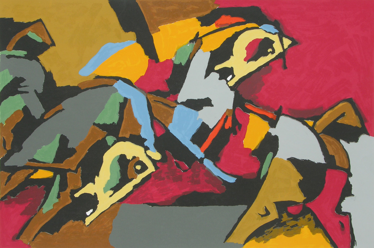 Two Horses by M F Husain, Impressionism Printmaking, Serigraph on Paper,