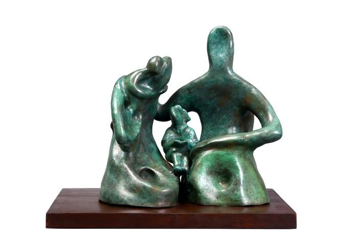 Family Moments 2 by Manjari Goenka, Art Deco Sculpture   3D, Bronze, White color