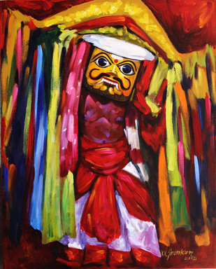 Folk Dance 1 by K V Shankar, Impressionism Painting, Acrylic on Canvas, Brown color