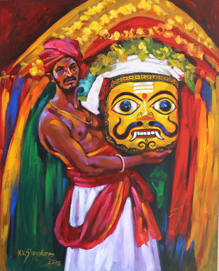 Folk Dance 2 by K V Shankar, Impressionism Painting, Acrylic on Canvas, Brown color
