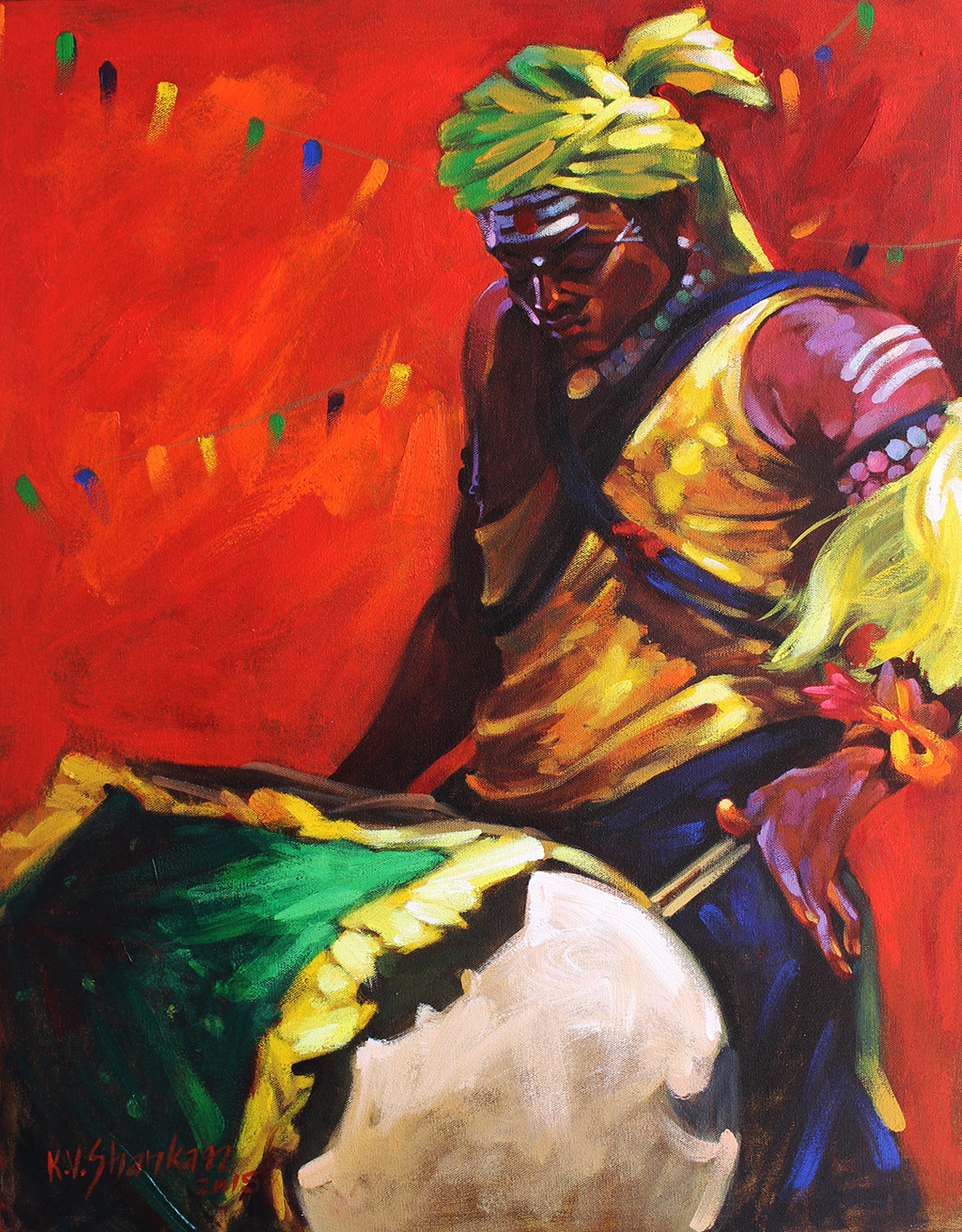 Drummer 18 by K V Shankar, Impressionism Painting, Acrylic on Canvas, Red color