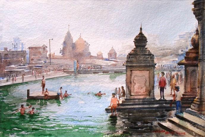 Godavari Nashik by Ananda Ahire, Impressionism Painting, Watercolor on Paper,