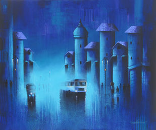 Dreamy Light by Somnath Bothe, Impressionism Painting, Acrylic on Canvas, Blue color