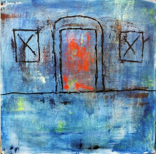 Home Blues by Shreya Shailee, Impressionism Painting, Acrylic on Board, Blue color
