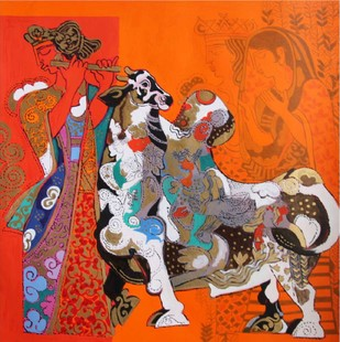 Untitled by Ravindra Salve, Decorative Serigraph, Serigraph on Paper, Brown color