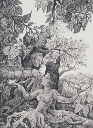 Sun Signs II by Gouri Vemula, Illustration Drawing, Pen & Ink on Paper, Gray color