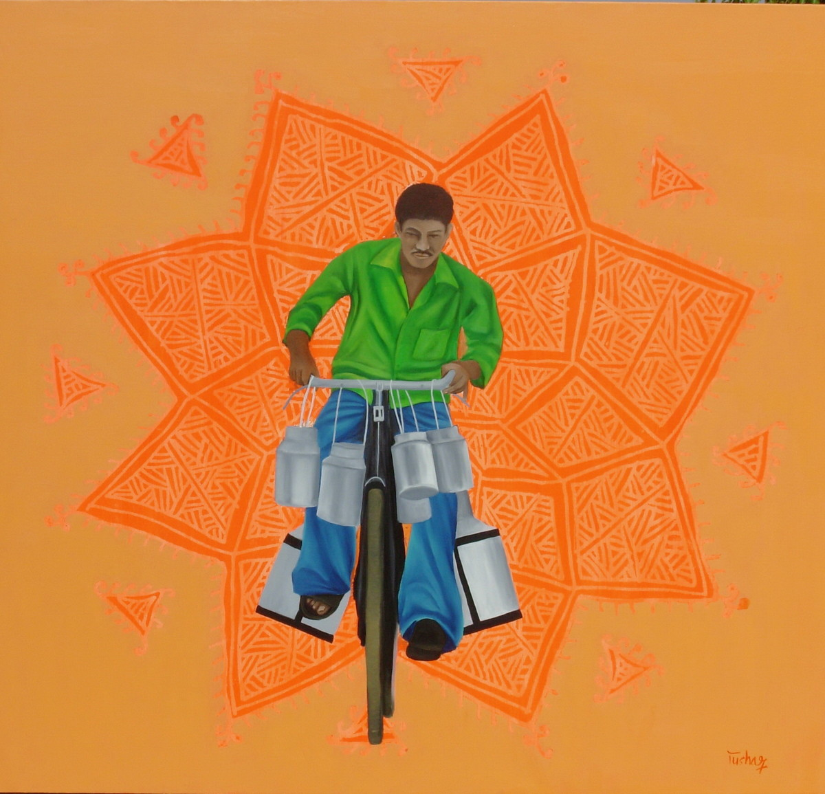 Chhattisgarh Diaries - The River Of Milk by Tushar Waghela, Pop Art Painting, Oil & Acrylic on Canvas, Brown color