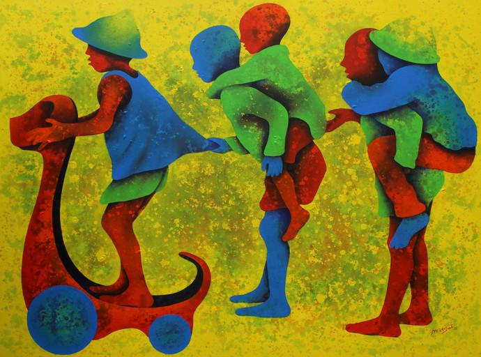Athkheliya Digital Print by Lakhan Singh Jat,Impressionism