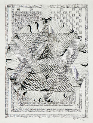 Divine Unity by Aiyana Gunjan, Expressionism Painting, Pen & Ink on Paper, Gray color