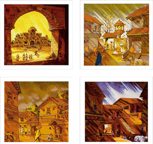 Virasat by Natu Mistry, Impressionism Serigraph, Serigraph on Paper, Brown color