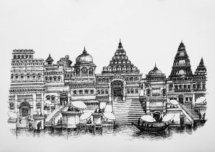 Varanasi by Natu Mistry, Illustration Serigraph, Serigraph on Paper, Gray color