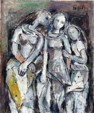 Sisters by Jiten Hazarika, Expressionism Painting, Mixed Media on Paper, Gray color