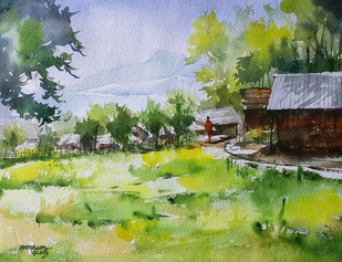 Paddy Field by Mopasang Valath, Impressionism Painting, Watercolor on Paper, Green color