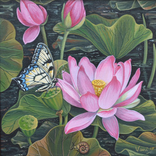 Lotus Pond 6 by Vani Chawla, Impressionism Painting, Acrylic on Canvas, Green color