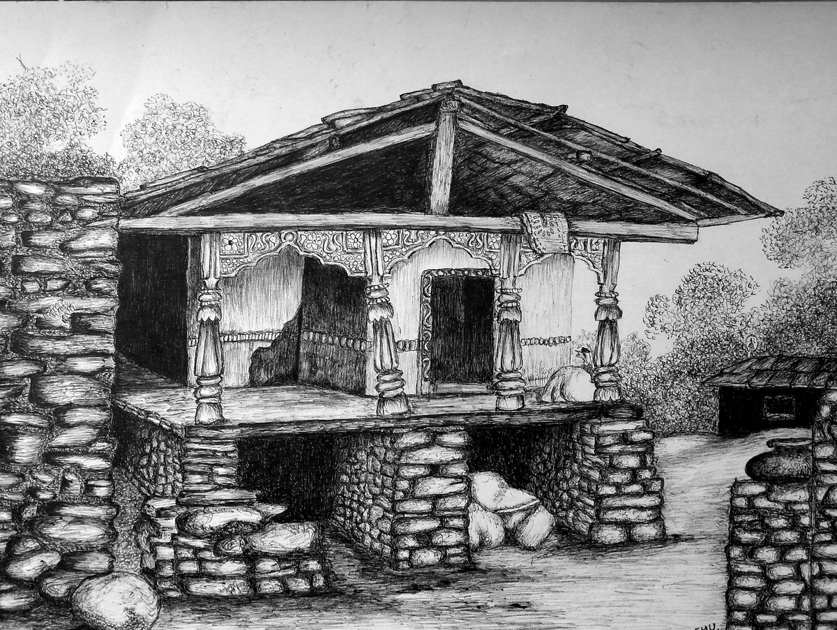 Enchanting Temple Bells by Vishwanath Bhat, Illustration Drawing, Pen on Paper, Gray color