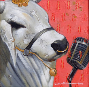 Performer by Jiban Biswas, Decorative Painting, Acrylic on Canvas,